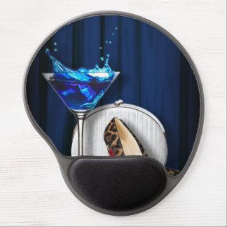 trendy girly martini leopard print Stiletto Gel Mouse Mats