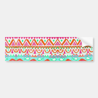 Trendy Girly Orange Teal Tribal Pattern Bumper Sticker