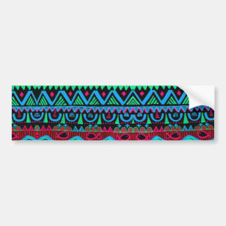 Trendy Girly Pink Blue Tribal Pattern Bumper Sticker