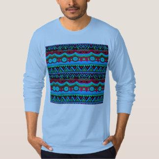 Trendy Girly Pink Blue Tribal Pattern T-Shirt