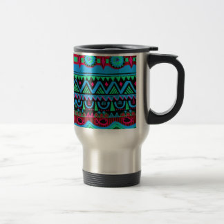 Trendy Girly Pink Blue Tribal Pattern Travel Mug