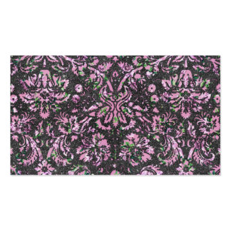 Trendy Girly Pink Floral Damask  Glitter Print Business Card