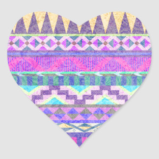 Trendy Girly Pink Green Tribal Pattern Heart Sticker