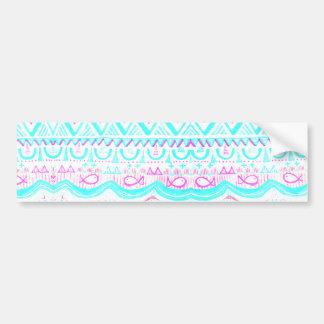 Trendy Girly Pink Teal Tribal Pattern Bumper Sticker
