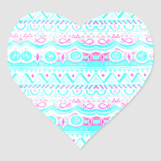 Trendy Girly Pink Teal Tribal Pattern Heart Sticker