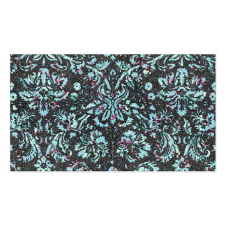 Trendy Girly Teal Floral Damask Glitter Print Business Cards
