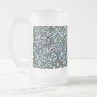 Trendy Girly Teal Floral Damask  Glitter Print Frosted Glass Beer Mug