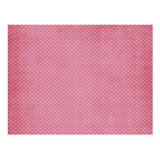 Trendy Girly Vintage Pink Polka Dots Pattern Postcard