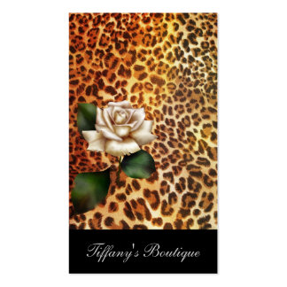 Trendy girly white rose leopard print fashion business card