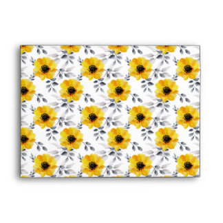 Trendy Girly Yellow Flowers Pattern Envelope