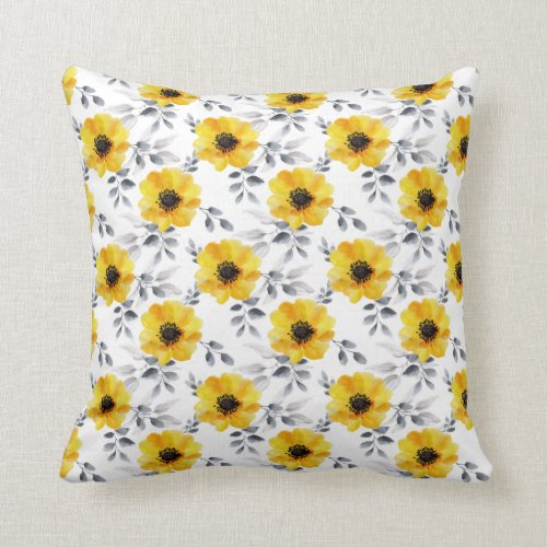 Trendy Girly Yellow Flowers Pattern Throw Pillow