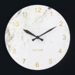 """Trendy Glam Faux Gold Look and White Marble Large Clock<br><div class=""""desc"""">This elegant,  modern clock features faux gold look numerals on a white marble look background.</div>"""