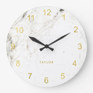 Trendy Glam Faux Gold Look and White Marble Large Clock