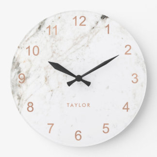 Trendy Glam Faux Rose Gold Look and White Marble Large Clock