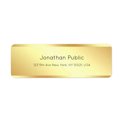 Trendy Glamorous Gold Minimalist Template Modern Label