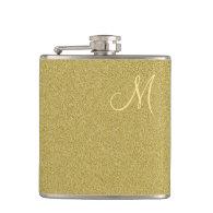 Trendy Glitter Gold Monogrammed Flask