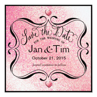 Trendy Glitter Shimmer Save the Date | pink black Card