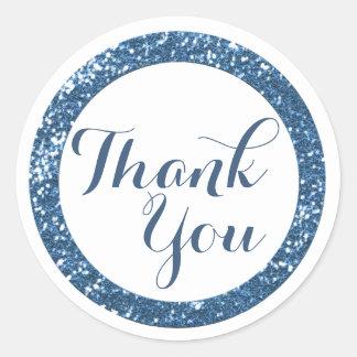 Trendy Glitter Thank You Stickers:Blue Classic Round Sticker