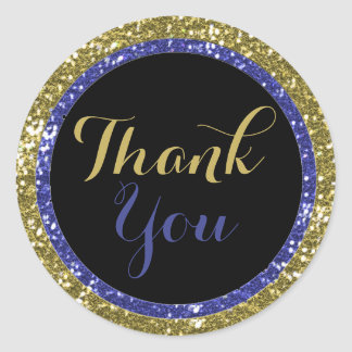 Trendy Glitter Thank You Stickers:Blue And Gold Classic Round Sticker