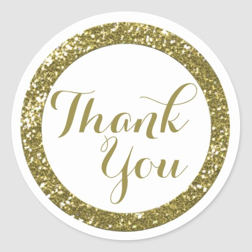 Cute thank you seal modern simple glitter gold round stickers