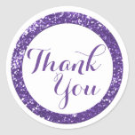 Trendy Glitter Thank You Stickers:Purple