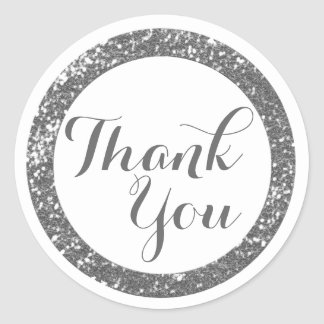 Trendy Glitter Thank You Stickers:Silver Gray Classic Round Sticker