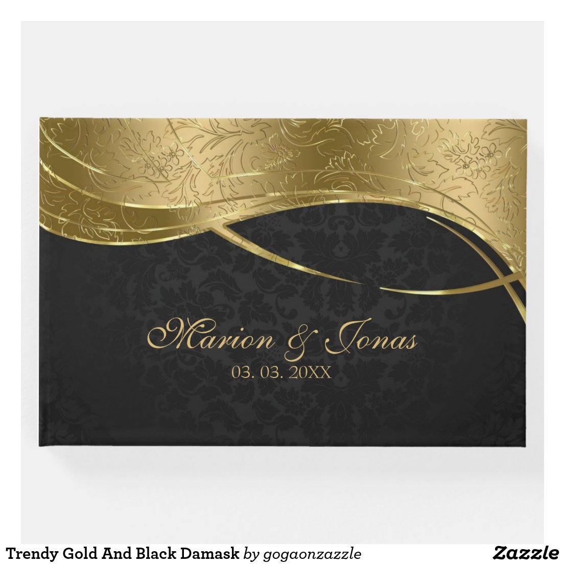 Trendy Gold And Black Damask