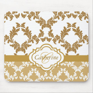 Trendy Gold and White Damask Mousepad