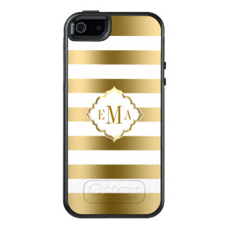 Trendy Gold And White Stripes OtterBox iPhone 5/5s/SE Case