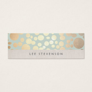 Trendy Gold Circles Pale Turquoise Linen Look Mini Business Card