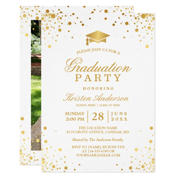 Trendy Gold Confetti Dots Graduation Party Photo Card