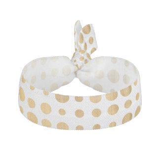 Trendy gold faux leaf modern polka dots pattern elastic hair ties