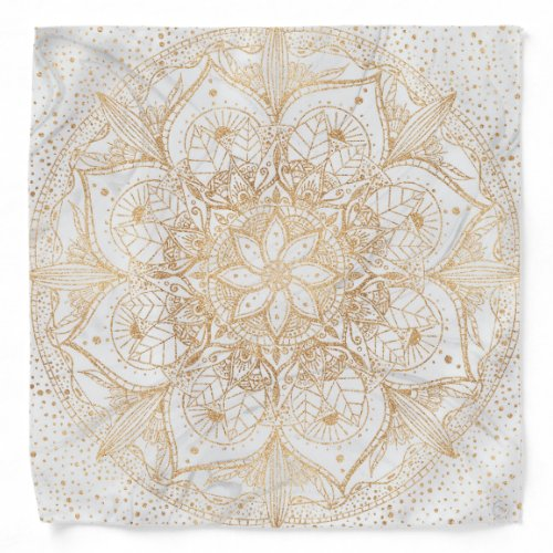 Trendy Gold Floral Mandala Marble Design Bandana