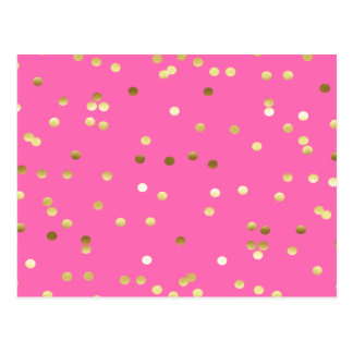 Trendy Gold Foil Confetti Hot Pink Postcard