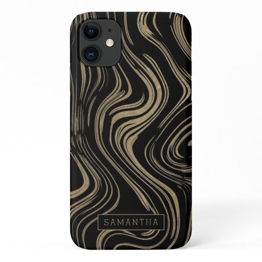 Trendy Gold Foil Marble Monogram iPhone 11 Case