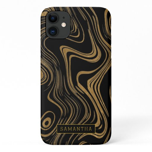 Trendy Gold Foil Marbled Monogram iPhone 11 Case