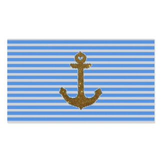 Trendy Gold Glitter Anchor Striped Pattern Print Business Card