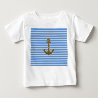 Trendy Gold Glitter Anchor Striped Pattern Print Infant T-shirt
