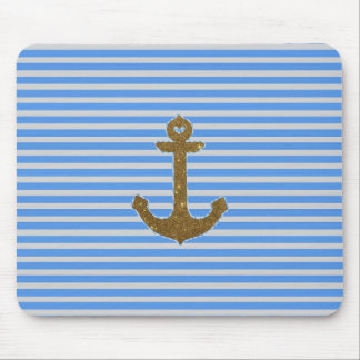 Trendy Gold Glitter Anchor Striped Pattern Print Mouse Pad