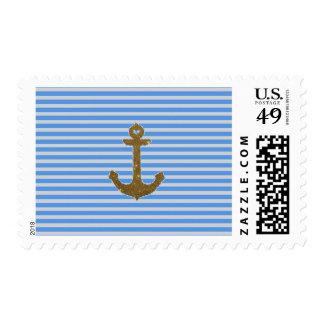 Trendy Gold Glitter Anchor Striped Pattern Print Postage Stamp