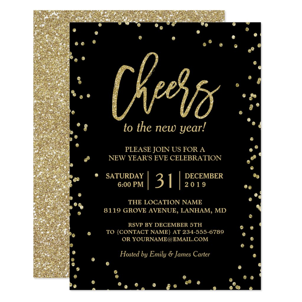 Trendy Gold Glitter Cheers New Year's Eve Party Card