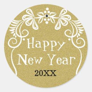 Trendy Gold Glitter Happy New Year 2016 Classic Round Sticker