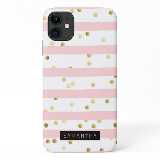 Trendy Gold Glitter Pink Stripe Monogram iPhone 11 Case
