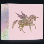"Trendy Gold Glitter Sparkle Unicorn Pegasus Horse Binder<br><div class=""desc"">binder</div>"