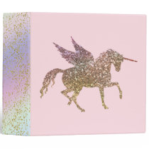 Trendy Gold Glitter Sparkle Unicorn Pegasus Horse Binder