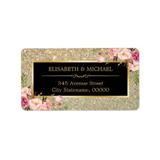 Trendy Gold Glitter Sparkles Girly Floral Label