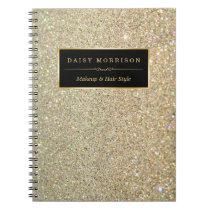 Trendy Gold Glitter Sparkles Makeup Beauty Salon Notebook