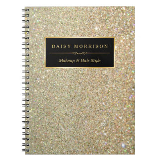Trendy Gold Glitter Sparkles Makeup Beauty Salon Spiral Notebook