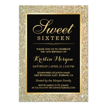 CardHunter Trendy Gold Glitter Sparkles Sweet Sixteen Party Card