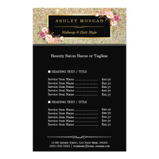 Trendy Gold Glitter Sparkling Girly Floral Flyer